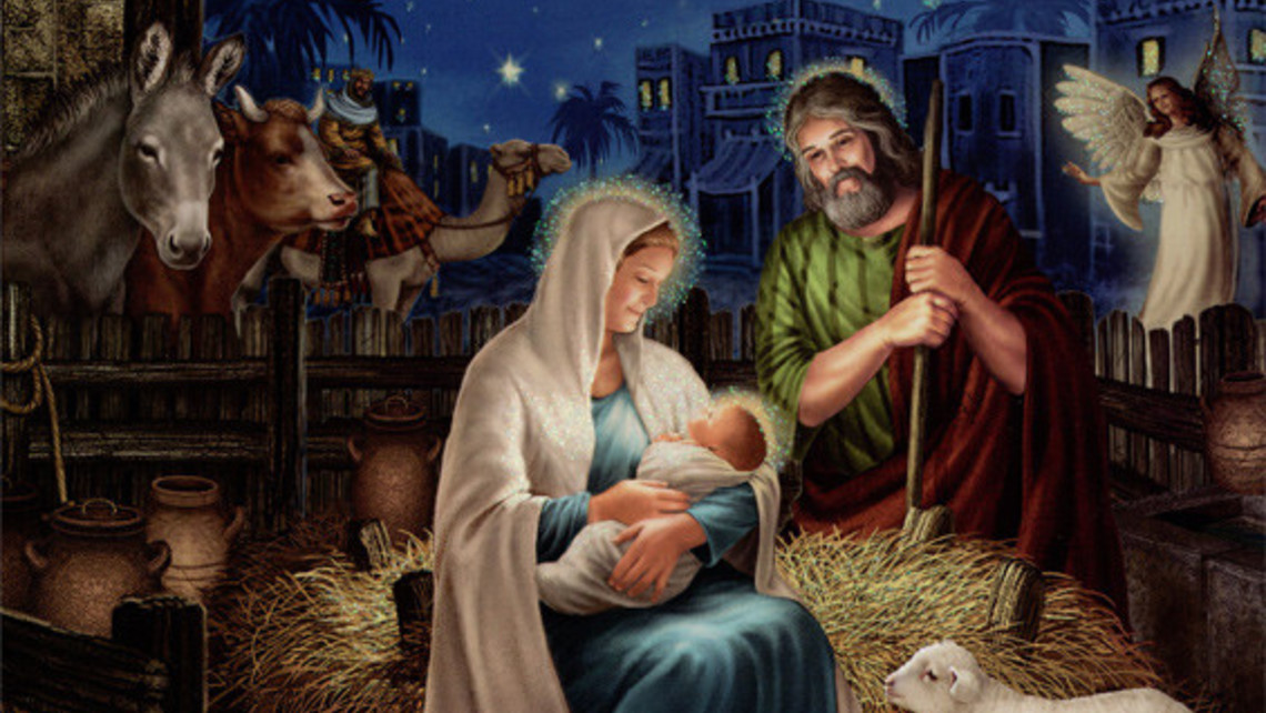 Holy Family Deluxe Glitter Christmas Card